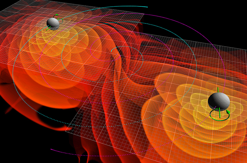A depiction of black holes merging and the gravitational waves that emit from them.