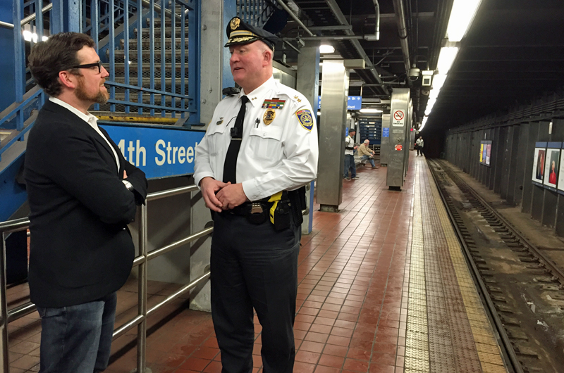 Jordan Hyatt (L) will evaluate the body camera initiative under SEPTA Police Chief Thomas Nestel III (R). Photo credit: Elizabeth Peckham.
