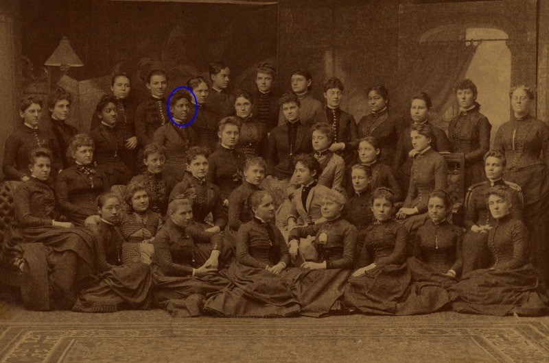 WMCP Class of 1888, featuring Verina M. Harris Morton Jones, MD, the first woman physician in Mississippi (highlighted), and fellow African-American pioneering student Juan Bennett-Drummond, MD. Photo courtesy Legacy Center Archives, Drexel College of Medicine.