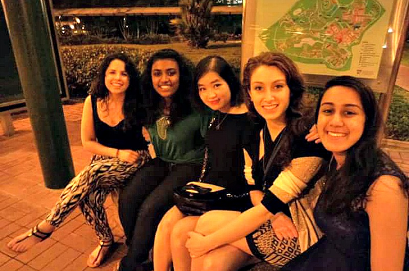 Grace, second from right, with four other Drexel Singapore exchange students in Singapore.