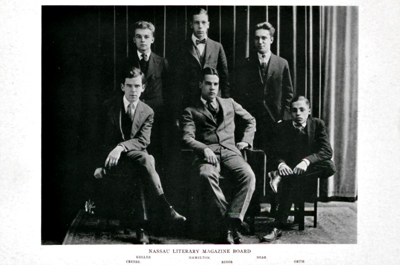 "James Creese, bottom left, is pictured in a 1919 Princeton ""Bric-a-Brac"" activities yearbook for his work with Princeton's literary magazine. Photo published with permission of the Princeton University Library."