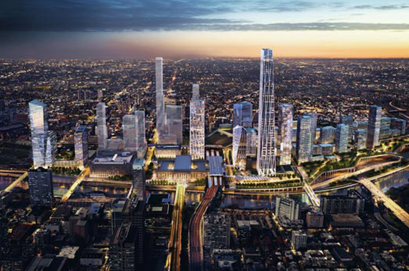 Rendering of development proposed around 30th Street Station