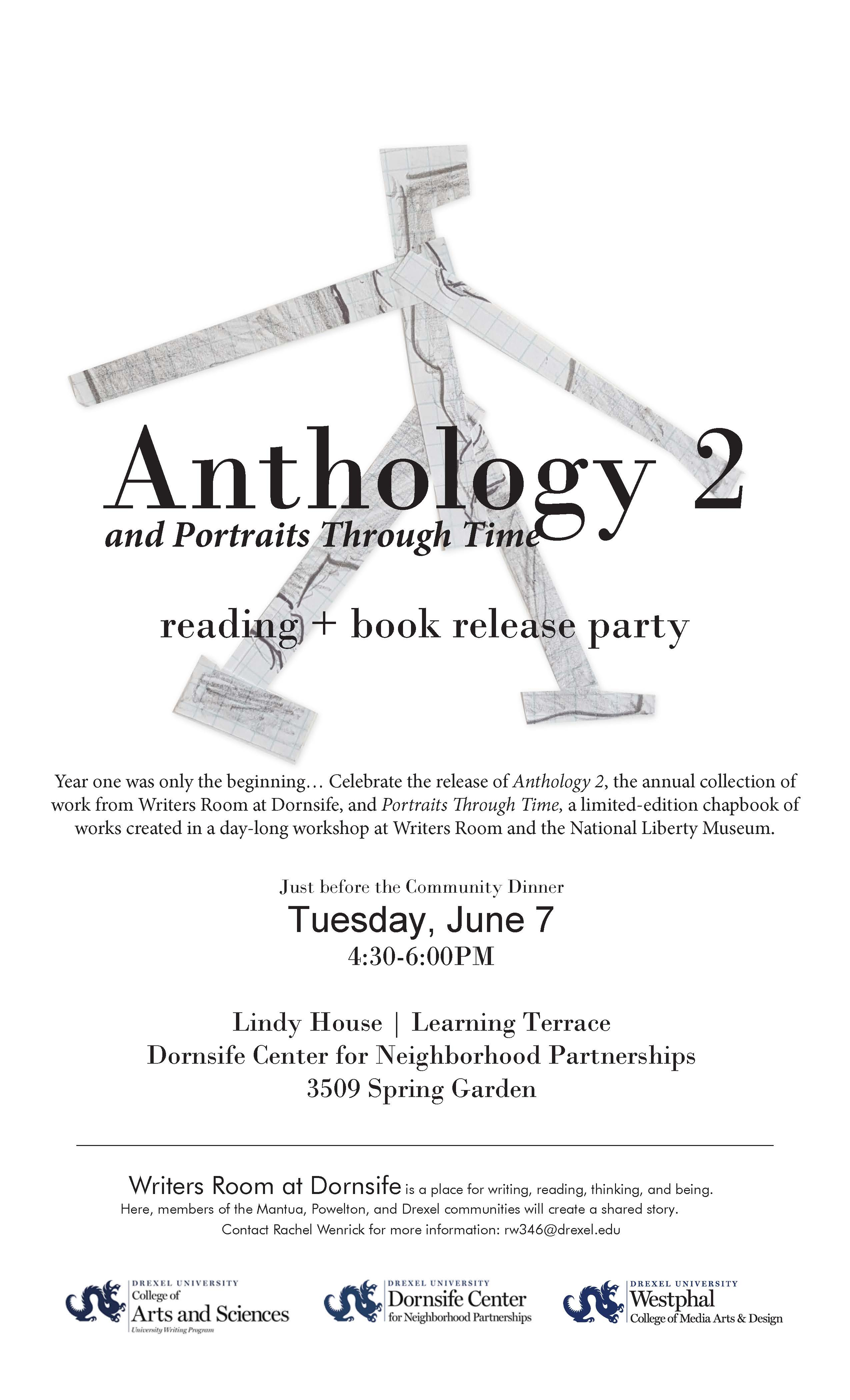 The poster for this year's Writers Room anthology reading.