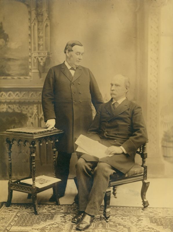 George W. Childs stands with his lifelong friend A.J. Drexel, who is seated, in this photo taken sometime in the late 1880s. Photo courtesy University Archives.