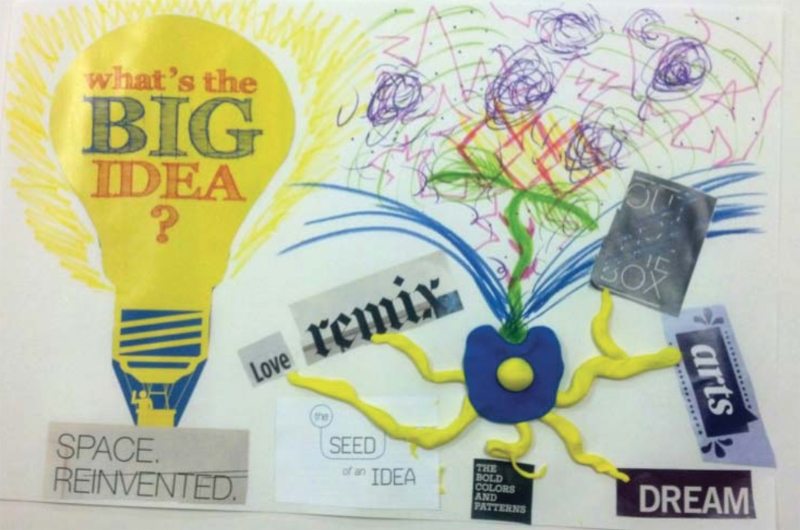 "A collage the participant made that he titled, ""The Evolution of a Seed of an Idea."" Courtesy of Girija Kaimal."
