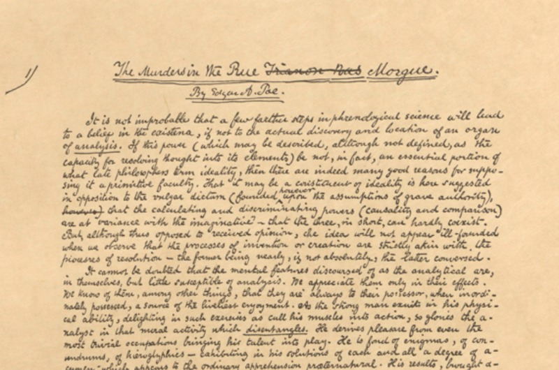 "A facsimilie of the original manuscript for Edgar Allan Poe's ""The Murders in the Rue Morgue."""