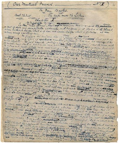 "Charles Dickens' original autograph manuscript of ""Our Mutual Friend."" Photo credit: the Morgan Library and Museum."