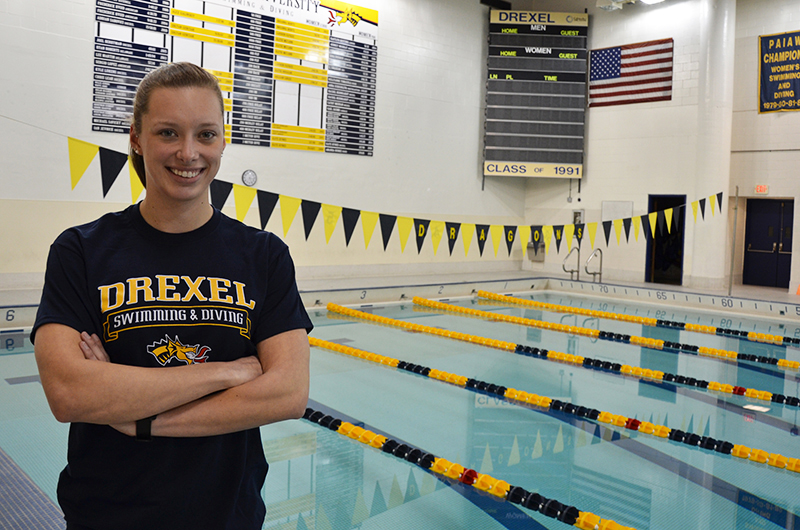 Rachel Bernhardt in front of the pool at the Rec Center