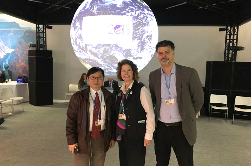 Drexel faculty (from left) Longjian Liu, Carol Collier and Franco Montalto were among the eight participants who traveled to Paris, France to represent Drexel at the 2015 COP21 conference.