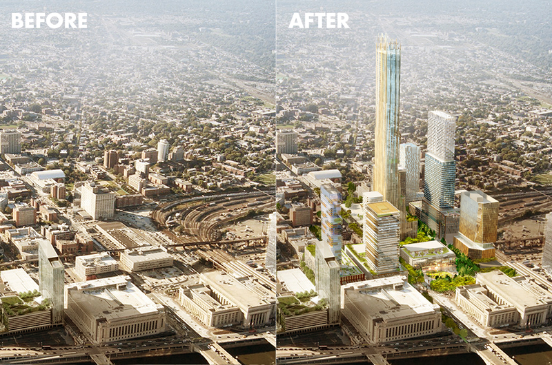 Schuylkill Yards rendering before and after