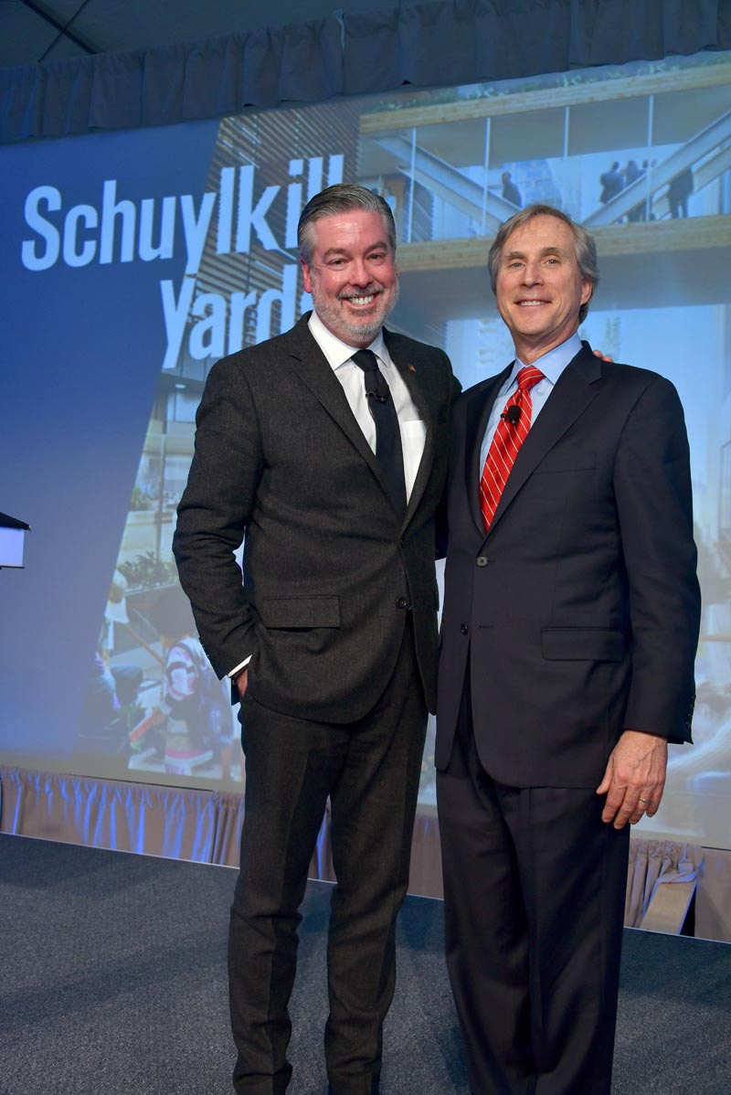 John Fry and Jerry Sweeney at the announcement of Schuylkill Yards