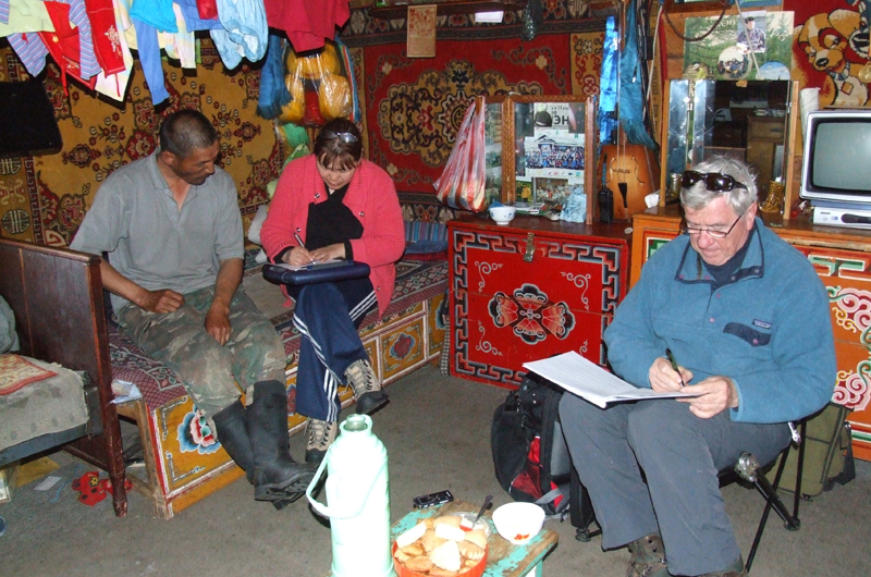 Tuya and Clyde Goulden administering a survey about perceptions of climate change with a nomadic herder named Nyamochir in Mongolia. Photo by Lkhagva Ariuntsetseg.
