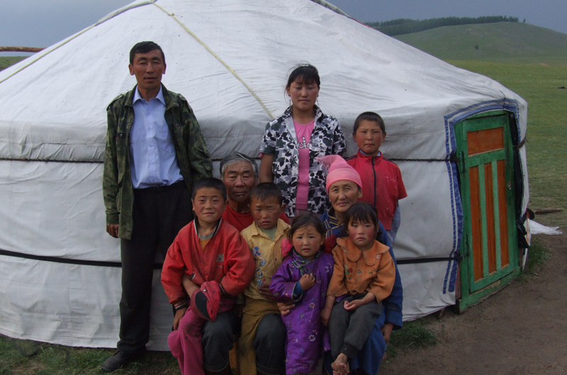 One of the Mongolian herder families who Goulden and his team interviewed on climate change perceptions standing outside of their ger.