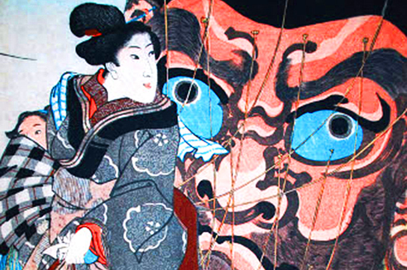 Ukiyo-e print on display in the Rincliffe Gallery