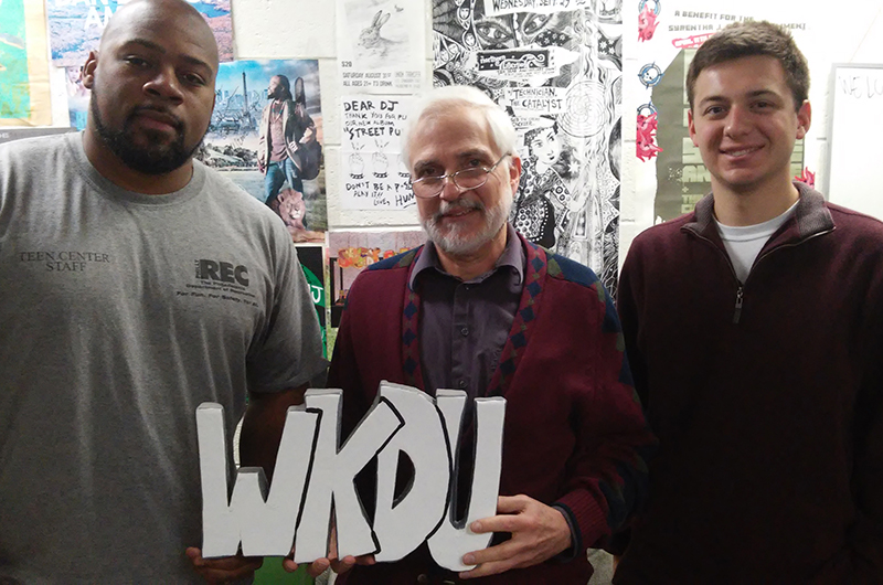 "From left to right: Rob Jackson, Facility Supervisor at the Wright Recreation Center; Lawrence Souder, Director of Drexel Edits and host of ""Good Morning, Neighbors""; and Nick Surgent, an undergraduate at Drexel University's Bennett S. LeBow College of Business and one of several Drexel Community Scholars"