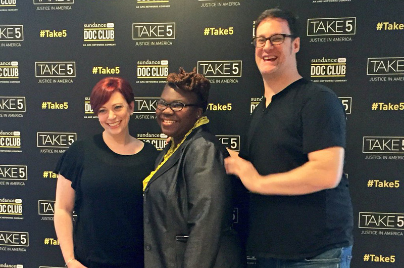 "Tianna Gaines-Turner, at center, with the directors of ""A Hug from Paul Ryan,"" Sheena M. Joyce (left) and Dan Argott (right). Photo courtesy of the Center for Hunger Free Communities."