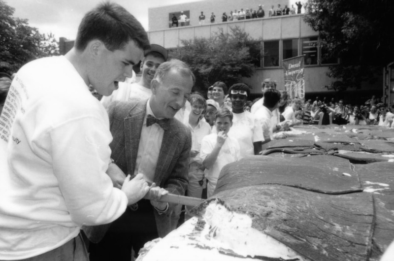 Drexel President Richard D. Breslin was on hand to test the ice cream sandwich. Photo courtesy Drexel University Alumni Association.