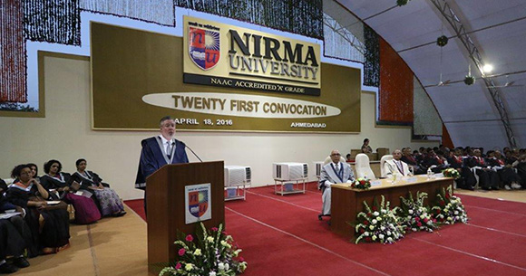 Drexel President John A. Fry deliveing the convocation address at Nirma University's 21st annual convocation in Ahmedabad, India.