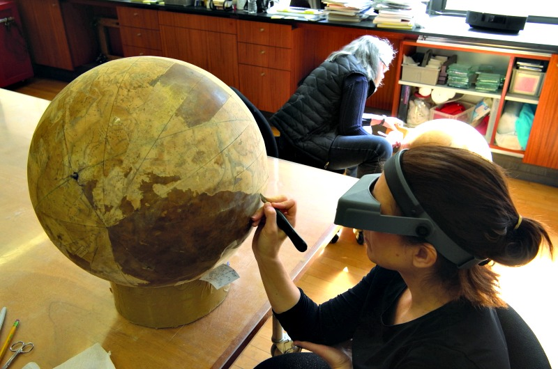 This globe, part of a pair of terrestrial and celestial globes donated to The Drexel Collection in 1975 by a member of the Drexel family, were conserved and restored to close to their original appearance in 2015 by Studio T.K.M.
