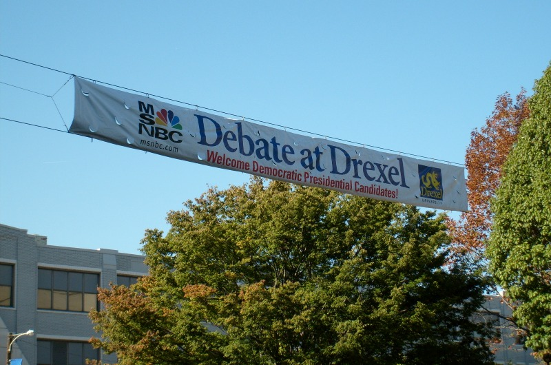 A banner announcing the debate hung on Drexel's campus.
