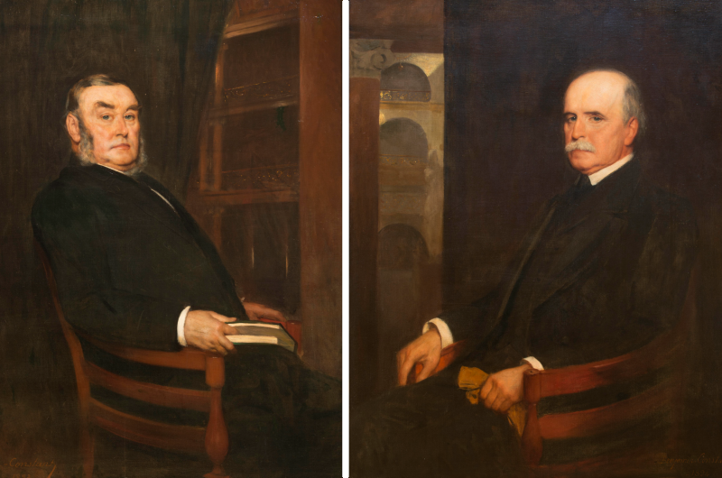 Benjamin Constant's 1894 paintings of George W. Childs, left, and Tony Drexel, courtesy The Drexel Collection.
