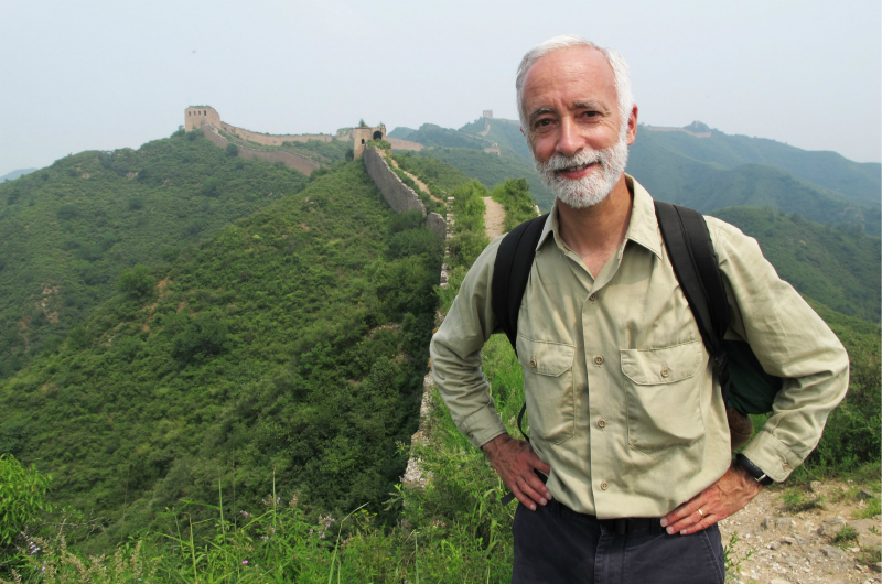 Bob Peck pictured on the Great Wall China in 2011.