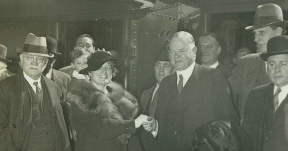 Drexel alumnus and staff member Harriet Worrell with Herbert Hoover in 1935. Photo coutesy University Archives.