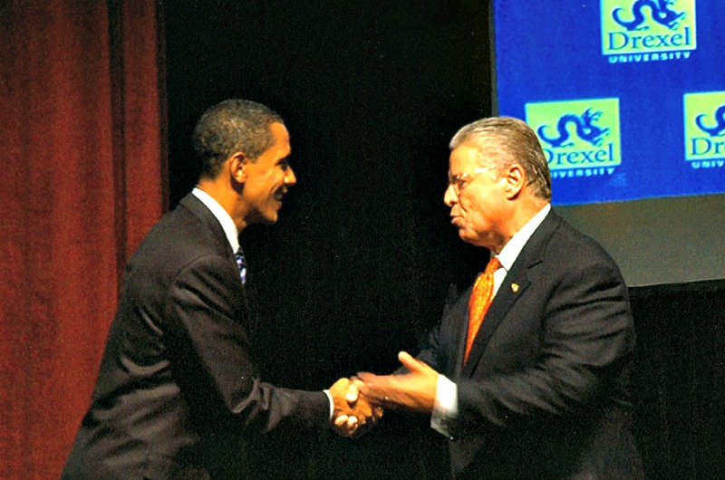 Future president Barack Obama shook hands with then-Drexel President Constantine Papadakis when the University hosted a debate for Democratic presidential hopefuls in 2007. Photo courtesy University Archives.