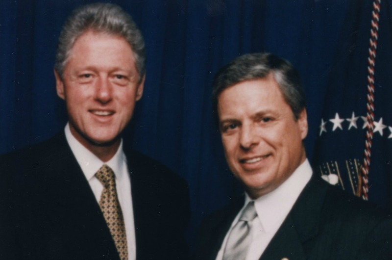 Bill Clinton and Constantine Papadakis in an undated photo, courtesy of University Archives.
