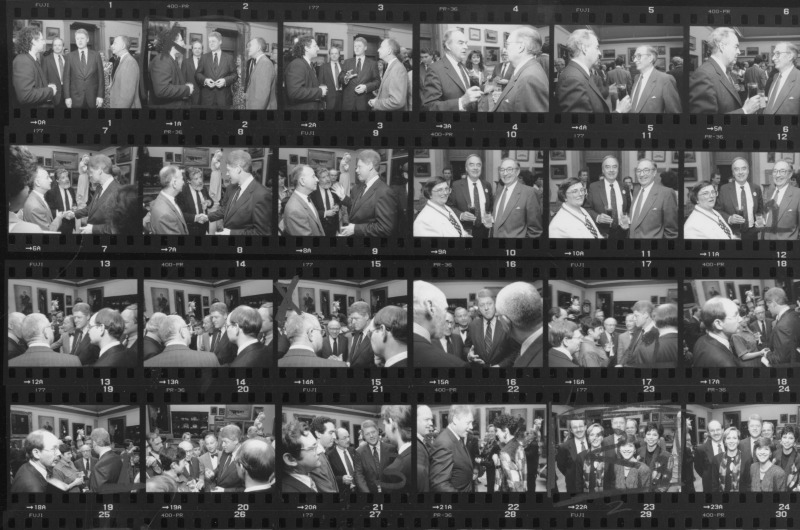 Contact sheet of photographs taken when Bill Clinton visited the Anthony J. Drexel Picture Gallery in 1992. He is pictured with President Richard Breslin in the top row as well as Drexel faculty. Contact sheet courtesy University Archives.