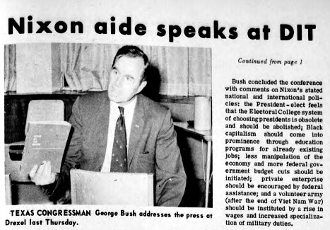 A clipping from a Nov. 8, 1969 article in Drexel's student newspaper on George H.W. Bush's visit to Drexel. Article courtesy University Archives.