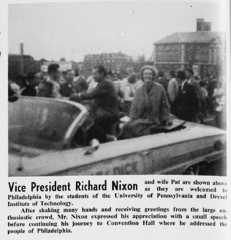 A clipping from an Oct. 21, 1961 article in Drexel's student newspaper on Richard Nixon's visit to Drexel. Article courtesy University Archives.