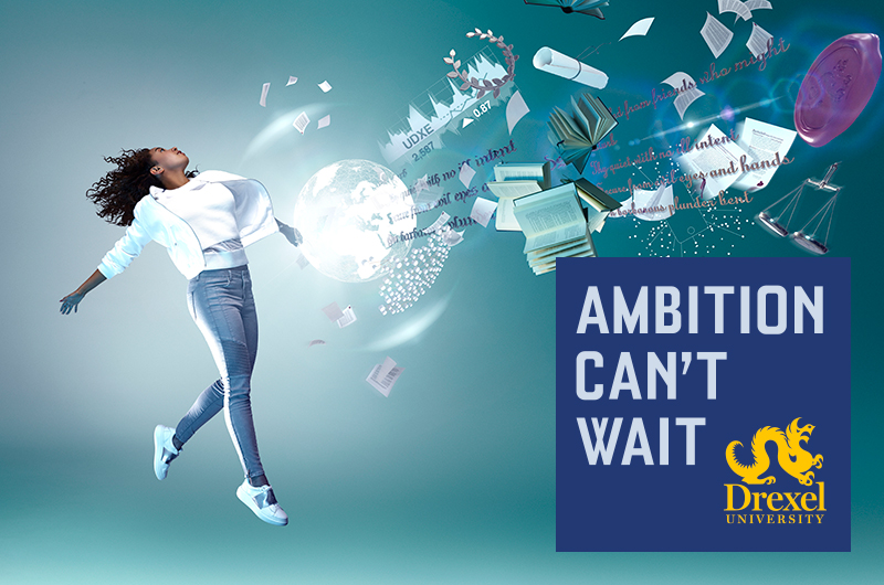 "Nicole Deroux, a junior marketing major in the LeBow College of Business, appears in a finished ad in the ""Ambition Can't Wait"" campaign."