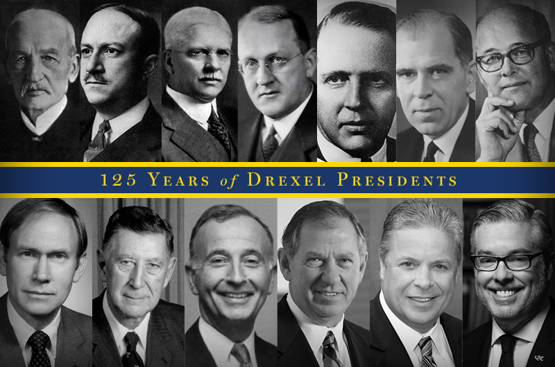 Drexel presidents are pictured left to right, top to bottom, in chronological order. Photos courtesy University Archives.