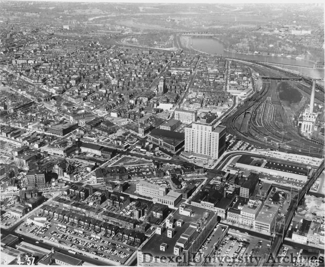 Aerial view of Drexel's campus, looking north from 32nd and Walnut Streets in 1957, when Gerber first began teaching here. Photo courtesy University Archives.