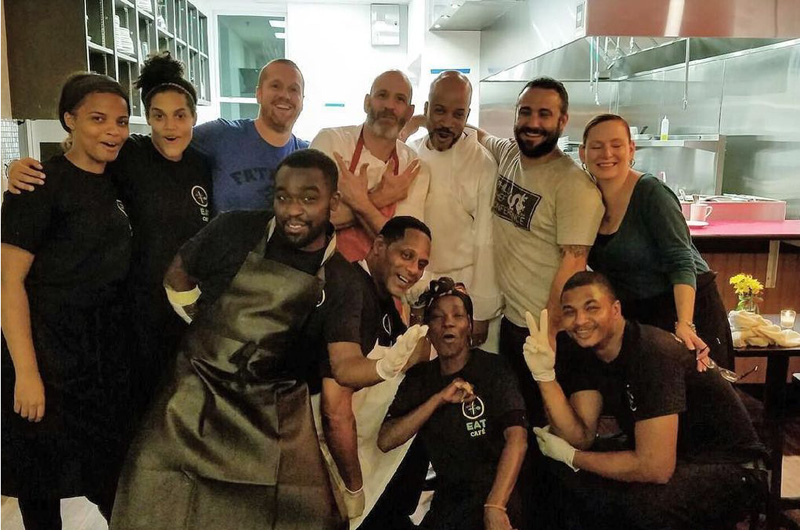A group shot of the EAT Cafe staff with Marc Vetri.