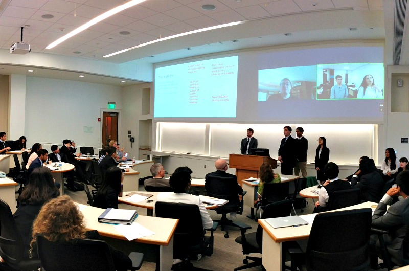 Drexel students in a LeBow College of Business Global Classroom present projects with students from the University of Leeds in the United Kingdom.