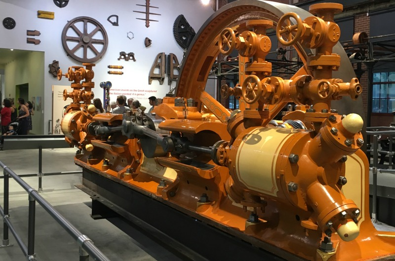 This 19th-century ammonia compressor on display at the National Museum of Industrial History provided refridgeration at the American Brewery in Baltimore.