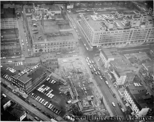 Aerial view of Drexel's campus, looking east from 33rd and Chestnut Streets, in 1953, when Gerber first came to campus. Photo courtesy Drexel University Archives.