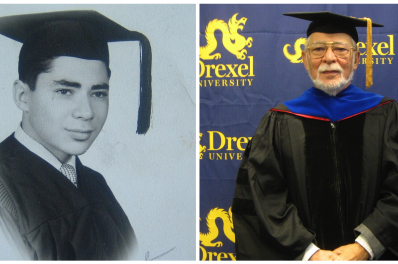 Edwin E.L. Gerber, PhD, pictured when he was 17 in 1952 and when he received Drexel's Harold Myers Service Award in 2013. Photos courtesy Edwin E.L. Gerber, PhD.