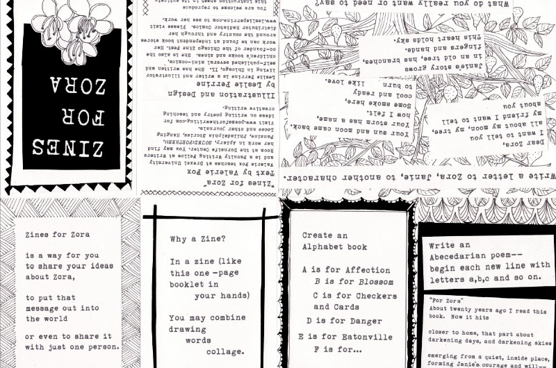 A postcard made for the Zora Neale Hurston-themed zine Writers Room will compile.