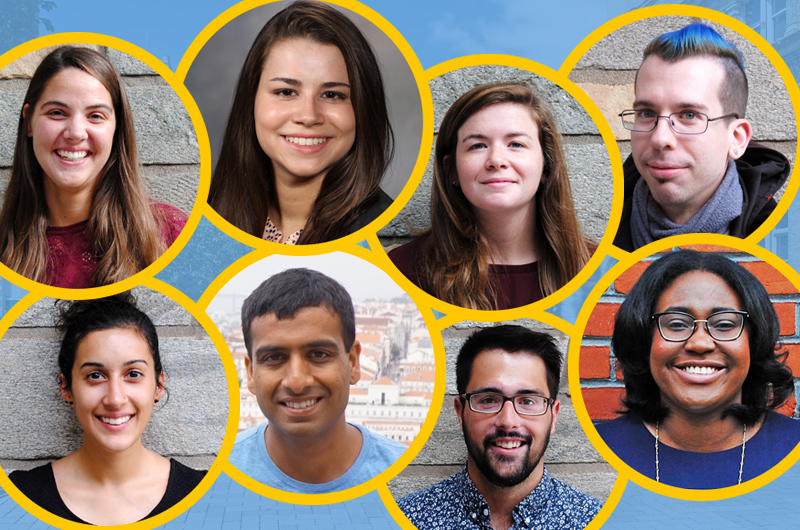 This year's class of Drexel Fulbright awardees. From left to right, top row: Carli Moorhead, Claudia Gutierrez, Emily Lurier and Gregory Niedt. From left to right, bottom row: Kaitlin Thaker, Shawn Joshi, Vaughn Shirey, Wen-kuni Ceant.