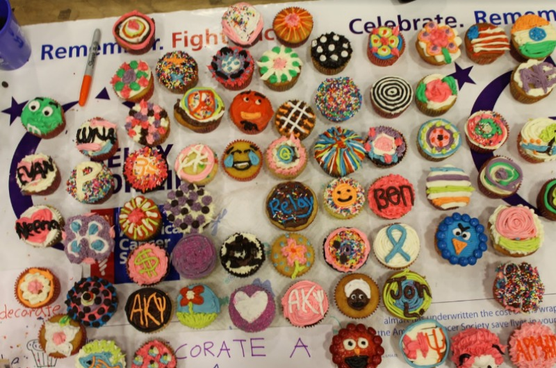 A cupcake display at last year's Relay for Life event on campus.