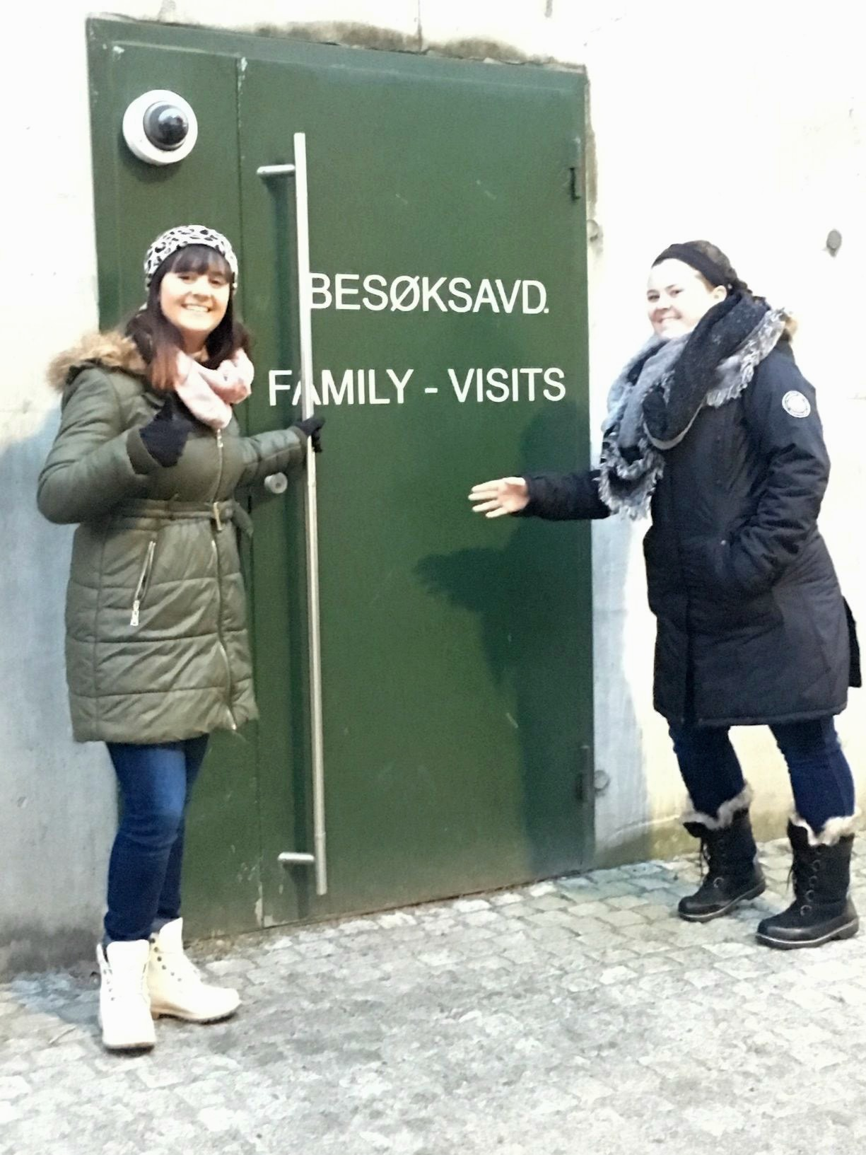 Emma Nolan, left, and Abbey Meyer outside of the family visiting center in Oslo Prison in Norway.