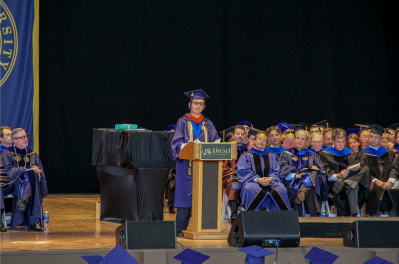 Nordin Ćatić, the video's director, speaking at the 2017 College of Engineering graduation ceremony.