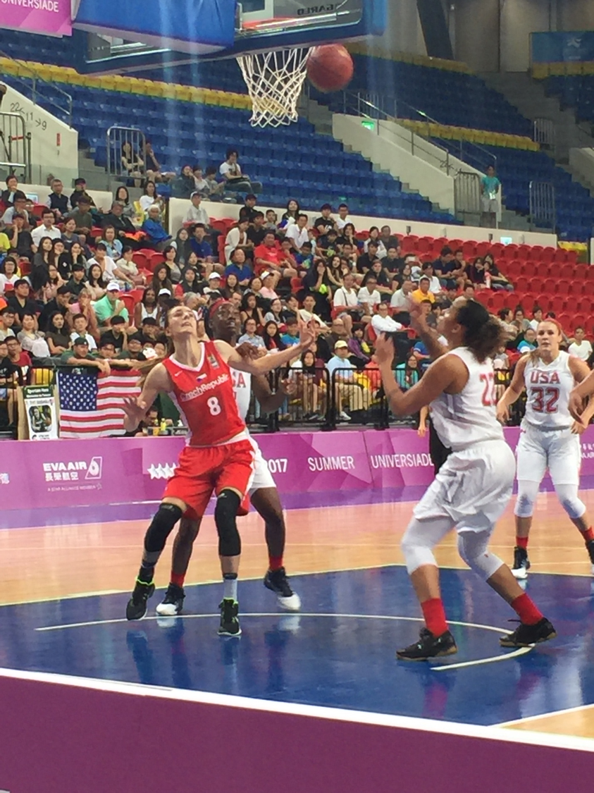 "Drexel's 6'2"" Tess Kracíková, representing the Czech National women's basketball team, is seen here competing against Team USA at the World University Games."