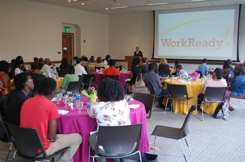 Drexel University President John Fry addresses a room of WorkReady students and their Drexel employers at an event on Aug. 14. Photo courtesy Sarah Colins.