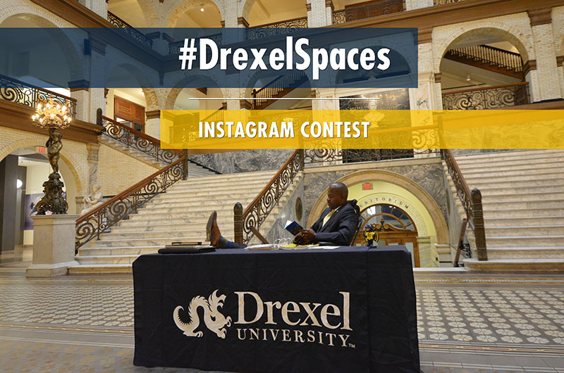 A photo of Nina Henderson Provost M. Brian Blake, PhD, used to promote the Instagram contest in which students submitted photos of their favorite unique study spots on campus.