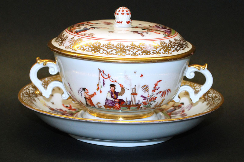 Porcelain covered cup and saucer from the Meissen Porcelain Factory, c. 1815, Germany. Photo courtesy The Drexel Collection.