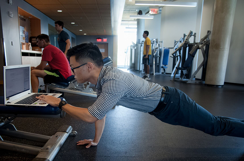 "James Min, a health sciences major in the College of Nursing and Health Professions, says he enjoys the Rec Center because it helps him ""release stress in a beneficial manner, which is important to me as a chronically stressed individual."""
